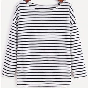 Tops - Navy and white striped top size md